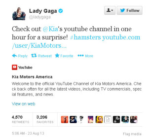 kia lady gaga tweet